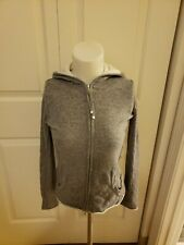 "BANANA REPUBLIC Gray ""Luxury Cashmere Blend"" Zip Hoodie Cardigan Sz XS"