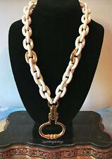 Vintage DONALD STANNARD White Necklace Gold Door Knocker Pendant Plastic Chain