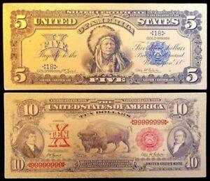 Wild West $5 Indian and $10 Bison Buffalo 24kt Gold Foil Note Set