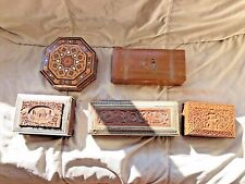 More details for antique victorian/edwardian anglo indian silver inlaid box hand carved painted