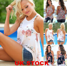 UK Summer Women Floral Vest Tops Blouse Ladies Sleeveless T-Shirt Plus Size 6-20