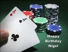 A4 POKER CHIPS CARD GAME EDIBLE ICING BIRTHDAY CAKE TOPPER