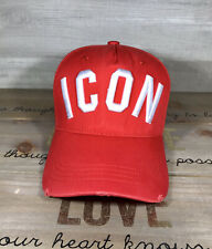 DSQUARED2 RED White Embroidered Baseball Cap Hat