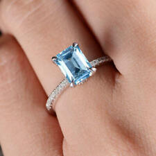 2Ct Emerald-Cut Aquamarine Solitaire Engagement Ring Solid 18K White Gold Finish