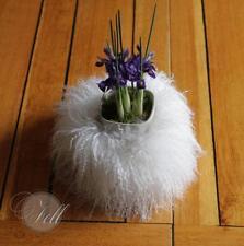 Würfel aus Tibet Lammfell 15x15x15 cm Weiss Tibetlammfell Schaffell