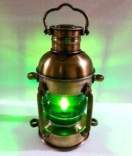 Antique Brass Lantern Electric Green Lamp Decorative Hanging Lantern Marine Ship