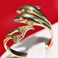 10k yellow gold double dolphin ring size 7 vintage handmade 2.9gr