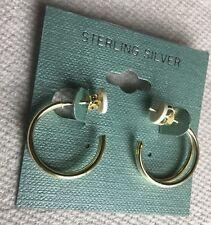 Gold Plated Sterling Silver Half-Hoop Earrings Retail $35-NWT