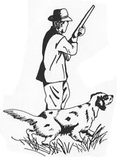 Unmounted Rubber Stamp, Dogs, Hunting, Hunter & Dog, Bird Dog, Sportsman & Rifle