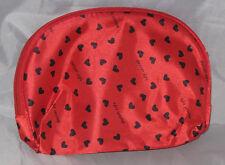 Makeup Bag Hearts Red Black Cosmetics Travel Better Life Zipper Closure New
