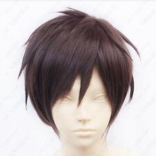 96 Attack on Titan Eren Jaeger Short Dark Brown Cosplay Wig Free shipping+wigcap