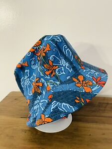 Patagonia Baby Sun Bucket Hat Blue and Orange Fish With Chinstrap 6-18 Mos