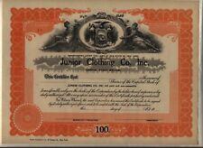 Junior Clothing Co. Inc. Stock Certificate New York