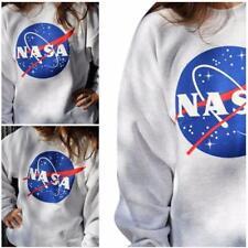 Women Oversized Casual Sweatshirt Printed NASA Hoodie Pullover Baseball Blouse B