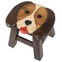 Puppy Dog Design Hand Carved Acacia Hardwood Decorative Short Stool