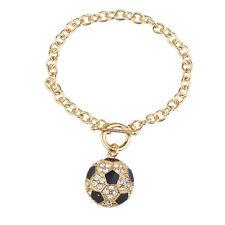Lux Accessories Goldtone Rhinestone Soccer Sports Soccer Ball Charm Bracelet