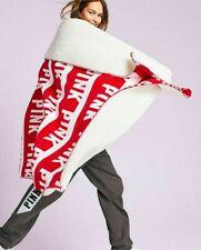 New Victoria Secret Pink Sherpa Blanket Throw Red Soft 60x72