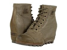 SOREL Ankle Booties 1964 Premium Wedge Verdant Green Perforated Boots 7 New