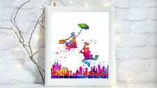 mary poppins glossy Print poster a4 paint splatter nursery picture unframed