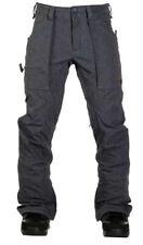 Rare Mens Burton Southside Denim Grey Snowboarding Ski Pants Adjustable Large