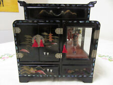 MUSICAL JEWELLERY BOX BLACK LACQUERED EMBOSSED WITH ABOLONE SHELL & GEISHA GIRL