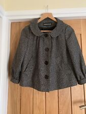 Warehouse - Ladies Black & White Cropped Jacket with a Silver Fleck. Size 8