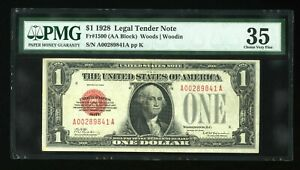DBR 1928 $1 Legal Tender Fr. 1500 PMG 35 Serial A00289841A