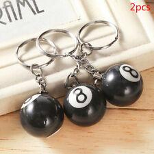 2Pcs Billiards Pool Keychain Snooker Ball Key Ring Gift Lucky NO.8 Car Key R L3