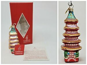 Vtg Landmark Creations Hand Blown Glass Ornament Japanese Five Storied Pagoda