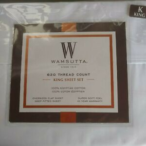 Wamsutta 620 Thread Ct King Deep-Fitted Sheet Set Ivory Egyptian cotton