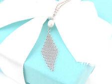 Tiffany & Co Silver Peretti Pearl Mesh Dangling Dangle Necklace Pouch Included