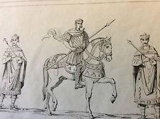 Estampe Germanie figures de rois milieu XIXe siècle  DEUTSCHLAND