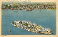 Linen Postcard CA Da016 1947 The Rock Alcatraz Island San Francisco Birds Eye
