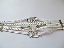 BRACELET ADJUSTABLE  LEATHER PLATED LOVE CHARMS WHITE GIFT BOX BIRTHDAY PARTY