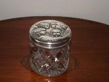 More details for antique sterling silver topped reynolds angels vanity jar, 1904 b/ham letter- e