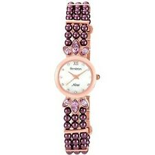 NIB ARMITRON Rose Gold Tone Glitz Purple Pearls Ladies Watch 75/5041MPGPR