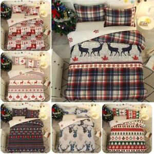 2/3Pc Christmas Doona Quilt Duvet Cover Set Single Double Queen King Size Bed AU