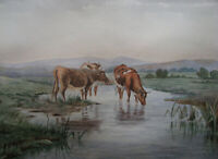 1890s GUERNSEY COWS PASTORAL Watercolor Painting ENGLISH SCHOOL EC SIMPSON