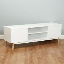 Roost Scandinavian White TV Side Unit Stand Retro Furniture Storage Cabinet