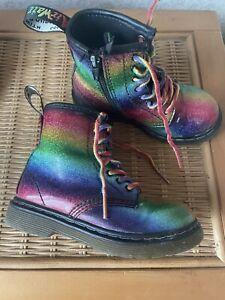 Infant Kids Girls Dr Martens Dms 1460 Rainbow Ombre Glitter Boots Shoes Uk 8 26