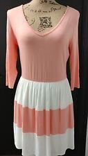 Pink owl v neck sheath dress size Large 3/4 Sleeve mauve/ivory summer