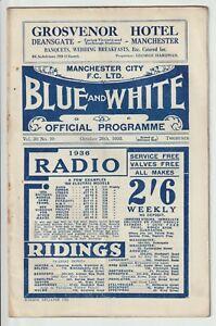 Manchester City V Brentford Rare Division One Programme 1935/36