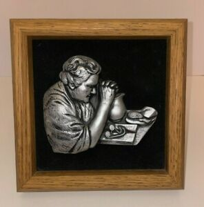 Vintage Miller Studios Hand-Crafted Thankful Heart Framed Woman Praying #753