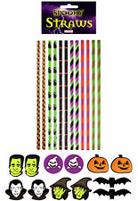 12 Halloween Paper Straws - Spooky Party Tableware Drinking Bright Neon