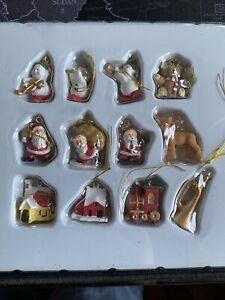 "Miniature Dollhouse Mini CHRISTMAS Tree ~ 12 1"" Resin  Rustic Ornaments Santa"