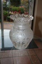 More details for antique victorian art nouvea cut glass large oil lamp shade