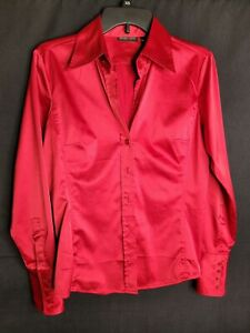 EUC New York & Company Red Long Sleeve Silky Satin Shirt Top Button Down Blouse