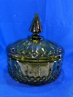 VTG INDIANA GLASS GREEN PRINCESS PATTERN COVERED CANDY DISH