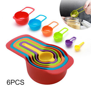 6pcs Nested Measuring Cup Spoons Set Colorful Baking Cooking Kitchen Tool UK