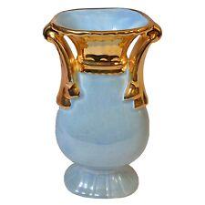 "Vintage CG USA Pottery Aquamarine Blue Lusterware 6 1/2"" Vase W/22kt Gold Trim"